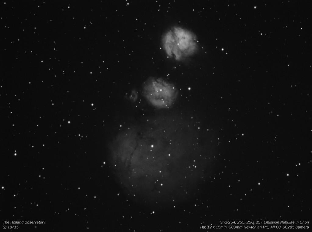 Sh2-254, 255, 256, 257 Emission Nebulae in Orion