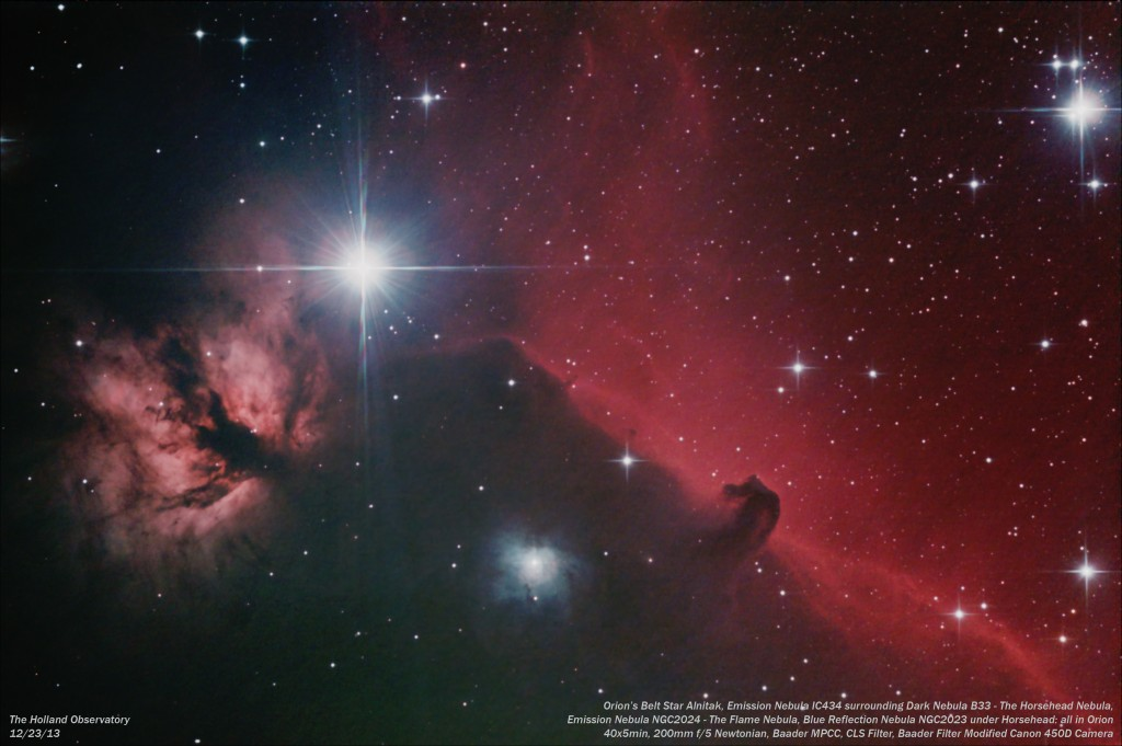 Orion Belt Star Alnitak, B33 - Horsehead Nebula, IC434 - Emission Nebula surrounding Horsehead, NGC2024 - Flame Nebula, NGC2023 - Reflection Nebula; in Orion