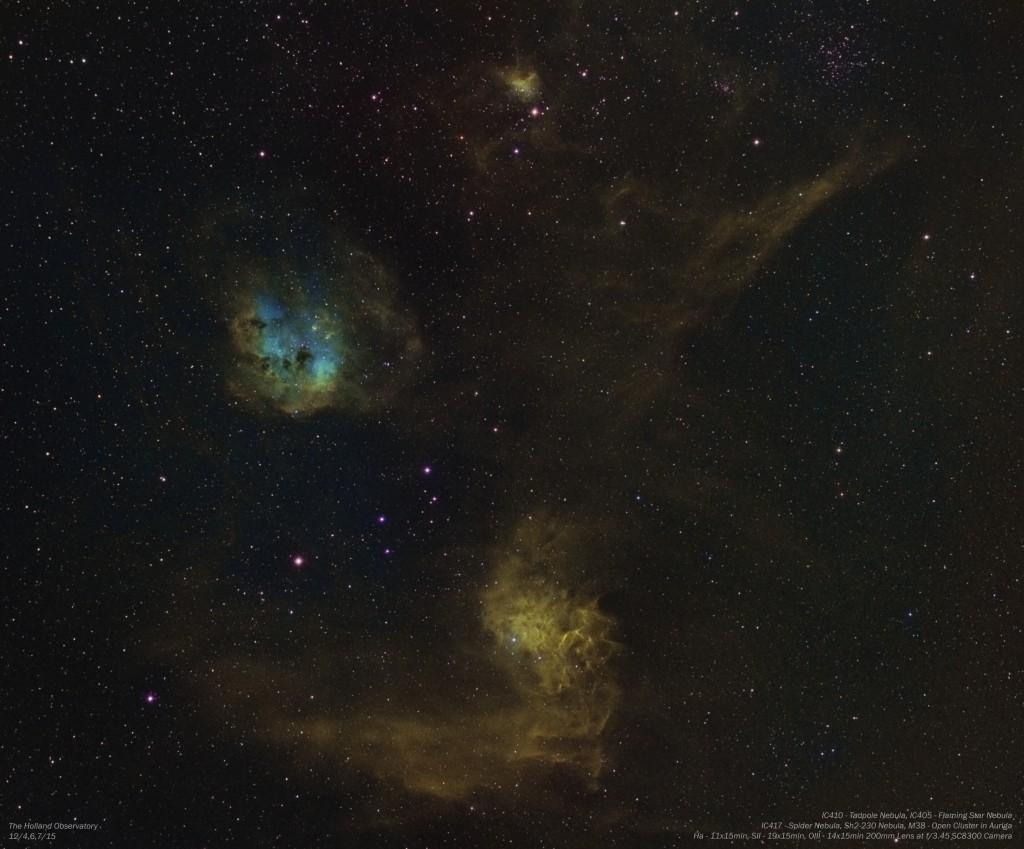 Auriga Area:  IC410 - Tadpole Nebula, IC405 - Flaming Star Nebula, IC417 - Spider Nebula, Sh2-230 Nebula, M38 Open Cluster