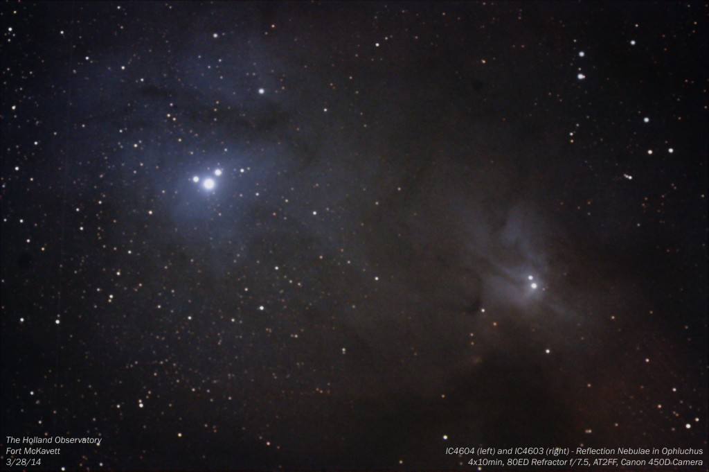 IC4604 and IC4603 - Reflection Nebulae in Ophiucus