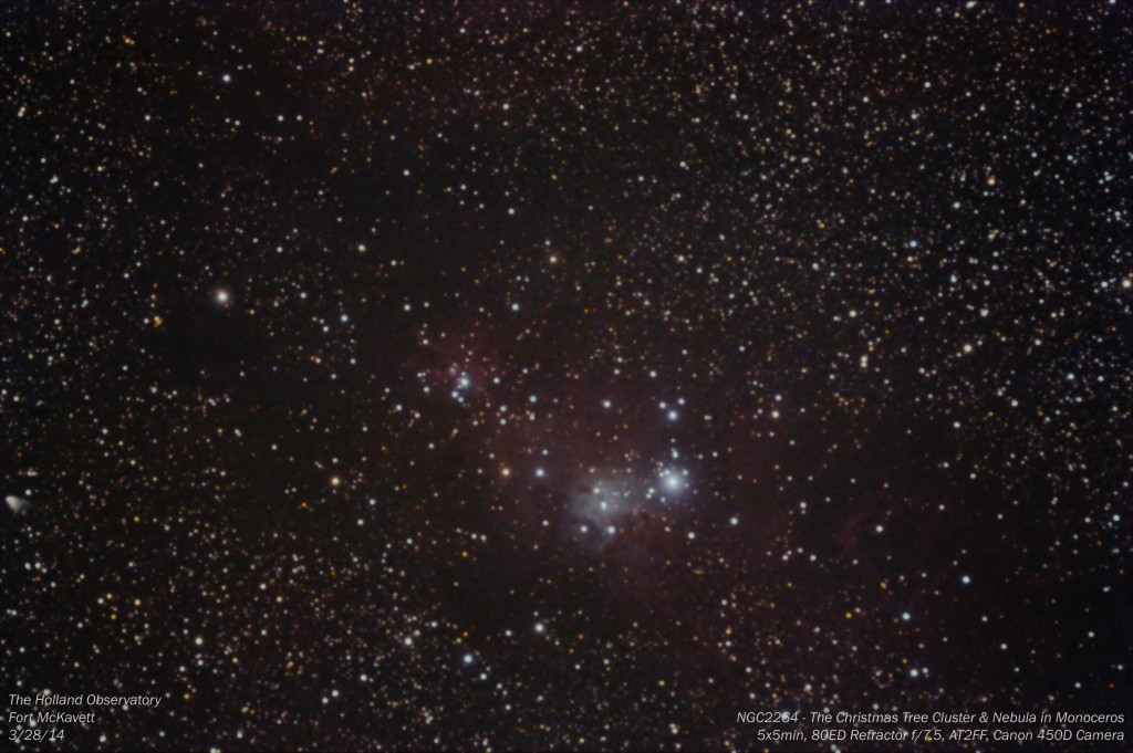 NGC2264 - Christmas Tree Cluster and Nebula in Monoceros