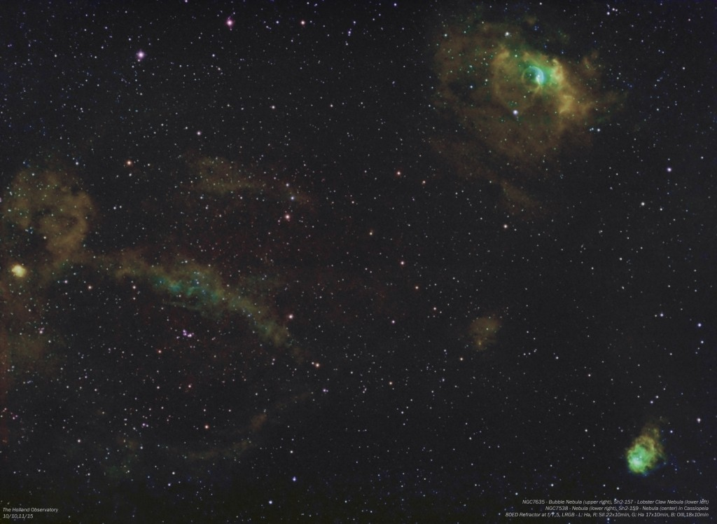 NGC7635 - Bubble Nebula, Sh2-157 - Lobster Claw Nebula, NGC7538 - Nebula, Sh2-159 - Nebula in Cassiopeia
