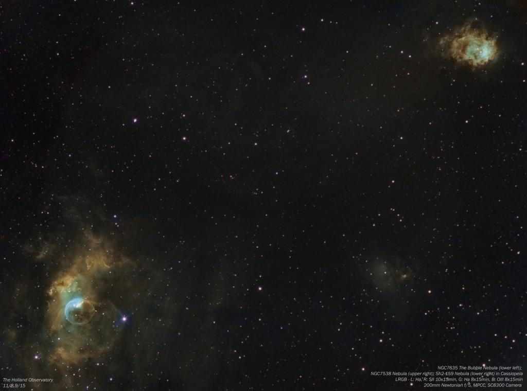 NGC7635 - Bubble Nebula, NGC7538 - Nebula, and Sh2-159 - Nebula in Cassiopeia